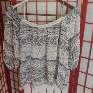 Windsor Blue & White Print Cold Shoulder Shirt